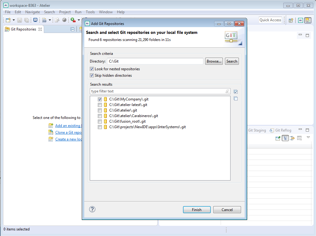 Step 1 - configure Atelier workbench with Git