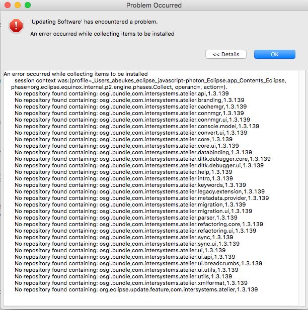 Atelier 1.3.139 update errors