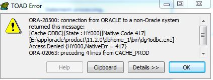 Not able to connect Cache DB using Oracle DB link (cache
