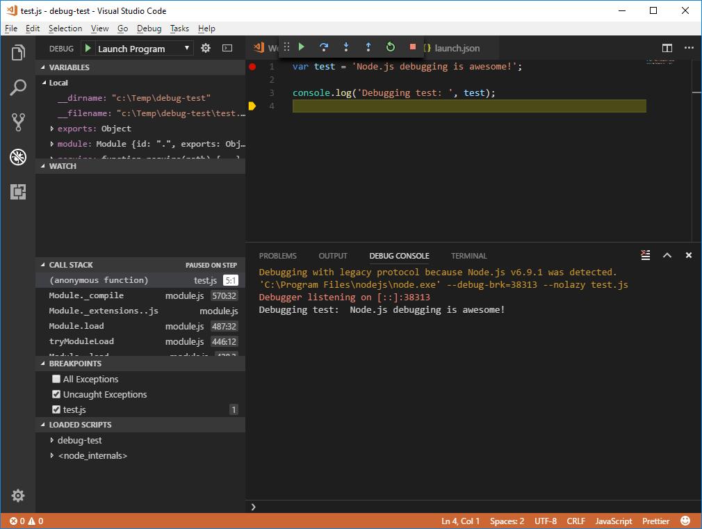 Node js: multi-target debugging QEWDjs using Visual Studio